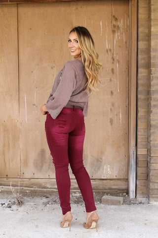 Plus Size Burgundy Lace Knee Jeans
