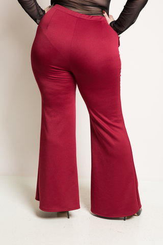 Plus Size Button Down Flare Bottom Pants