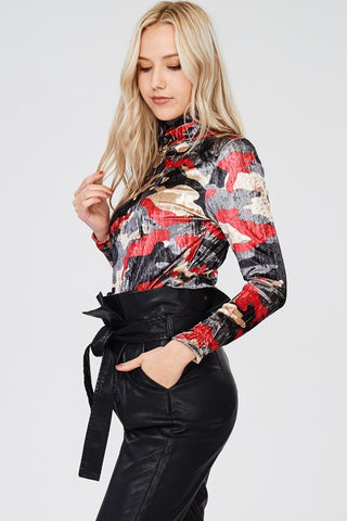 Red Camo Mock Neck Long Sleeve Top
