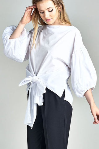 Ruffle Bell Sleeve Bow Blouse