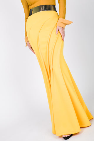 Mermaid Scuba Canary Yellow Maxi Skirt