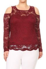 Burgundy Sheer Lace Top