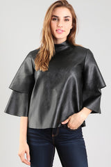 Faux Layered Sleeve Leather Top