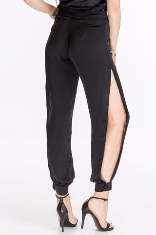 Black Satin Slit Pants