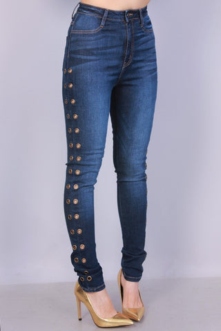 Dark Blue Rivet Hole Jeans