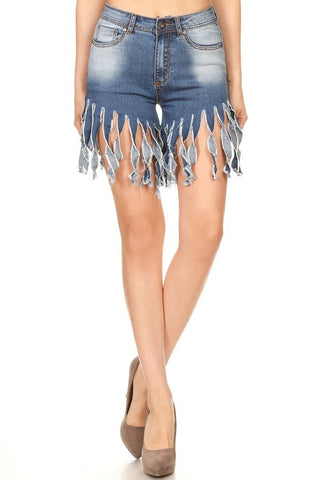 High Waist Denim Frayed Shorts