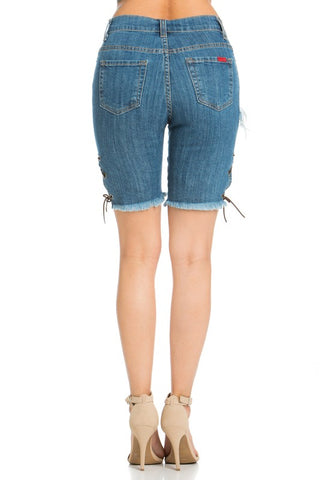 Bermuda Frayed Distressed Jean Shorts