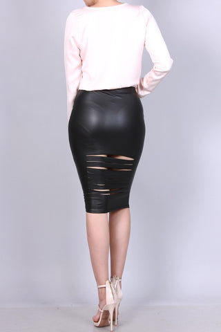 Distressed Liquid Leather Skirt