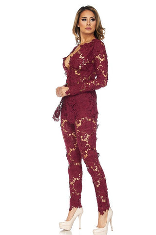Floral Lace Pants Suit