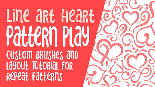 Line Art Heart Using Illustrator Brushes you Make Yourself -  full instructional video classes
