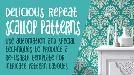 Scallop Pattern Using Live Transformations in Illustrator - Optimized Workflow for Pattern Design - learn to create surface pattern collections -  full instructional video classes