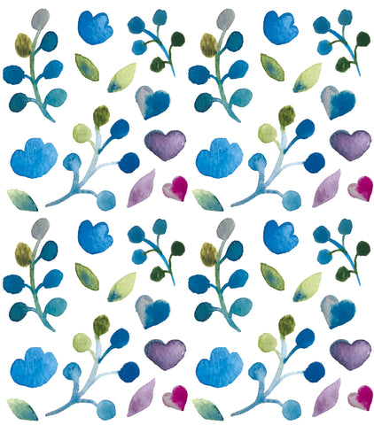 blue floral with hearts repeating pattern