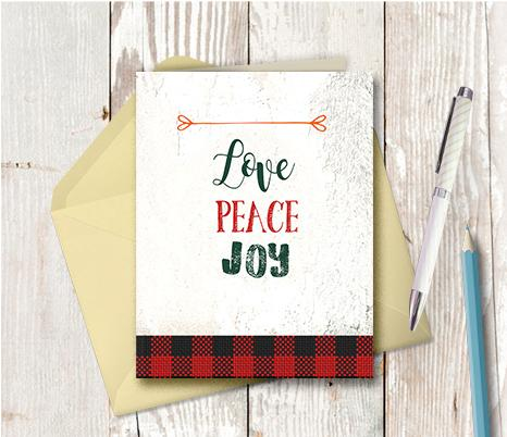 1007 Love Peace Joy Note Card