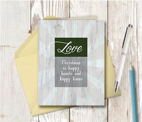 1013 Christmas Is Happy Hearts Note Card