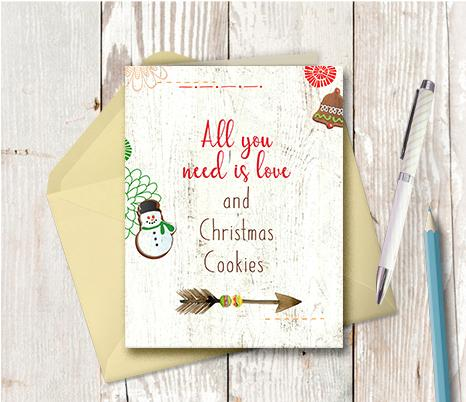 1014 All You Need Is Love And Cookies Note Card