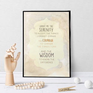 1307 Serenity Prayer Soft Neutral Watercolor Art