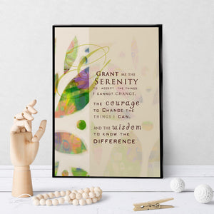1309 Serenity Prayer Abstract Leaves Art