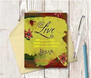 0135 Live Care Dream Pink Note Card
