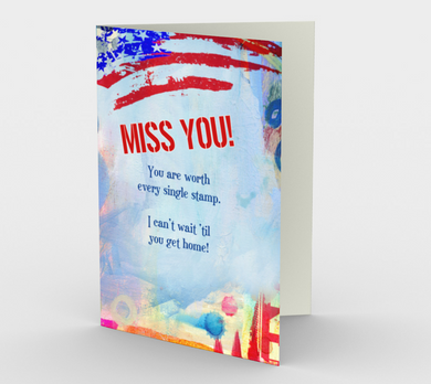 1374 Miss You/Stamp Red, White & Blue Card by Deloresart