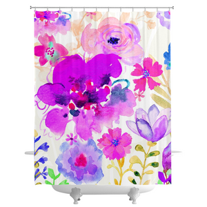 Magenta Floral Shower Curtains