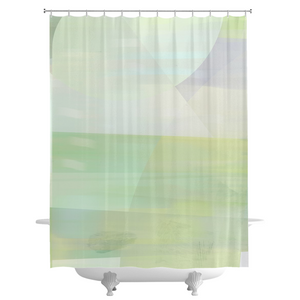 Angle Iron Soft Greens Shower Curtains
