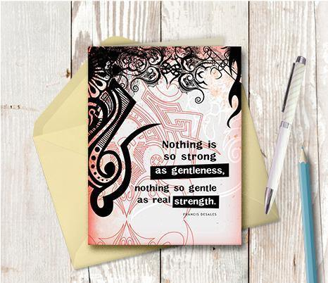 0196 Gentleness Strength Note Card - deloresartcanada