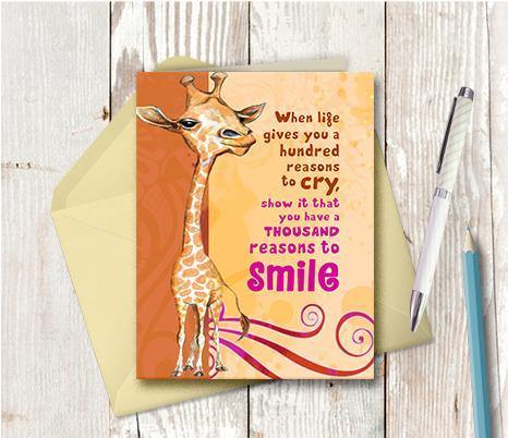 0204 Reasons to Smile Giraffe Note Card