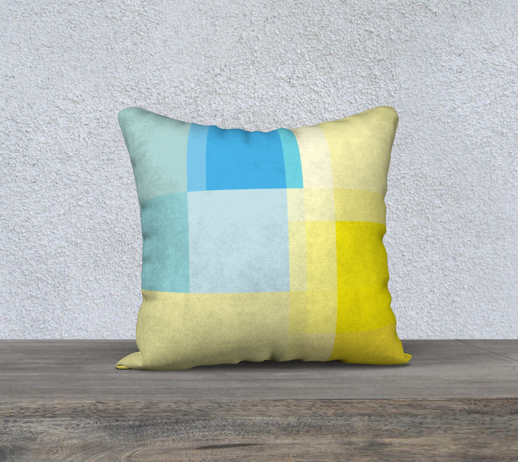 Square Off Yellow and Blue Throw Pillow by Deloresart