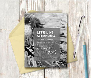 0209 Live Life Completely Dandelion Note Card