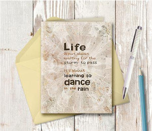 0220 Dance In The Rain Brown Blue Note Card