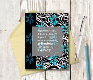 0223 Imperfection Is Beauty Blue Black Note Card