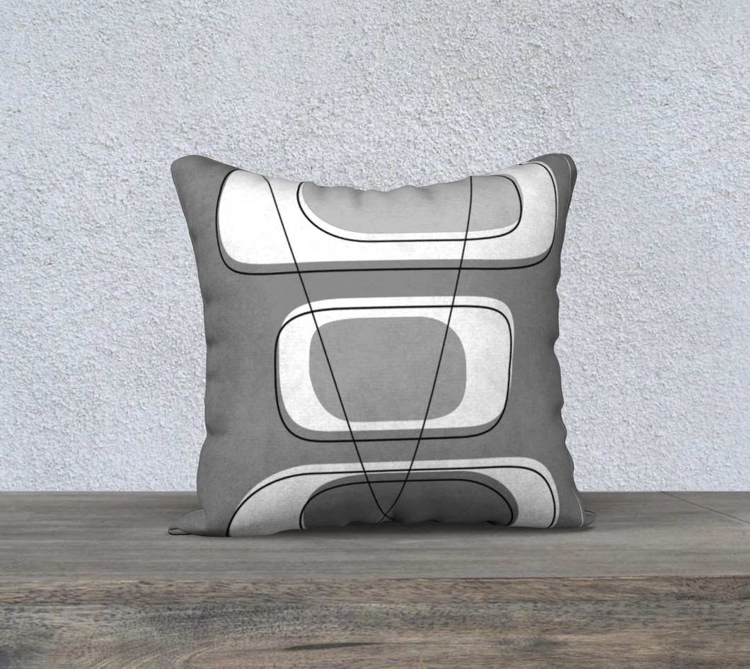 Telly Trio Grays Pillow by Deloresart