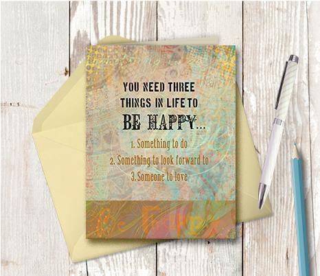 0248 Three Things To Live Note Card - deloresartcanada