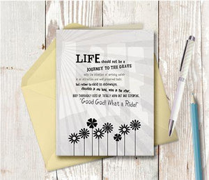 0272  Life Journey b and w Note Card