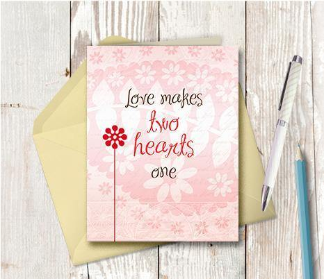 0280 Love Makes Two Hearts One Note Card