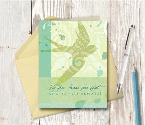 0292 Fly Free Green Note Card