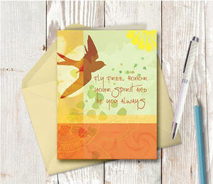0292 Fly Free Yellow Note Card
