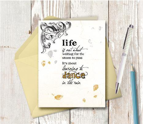0297 Dance Rain Vintage Note Card