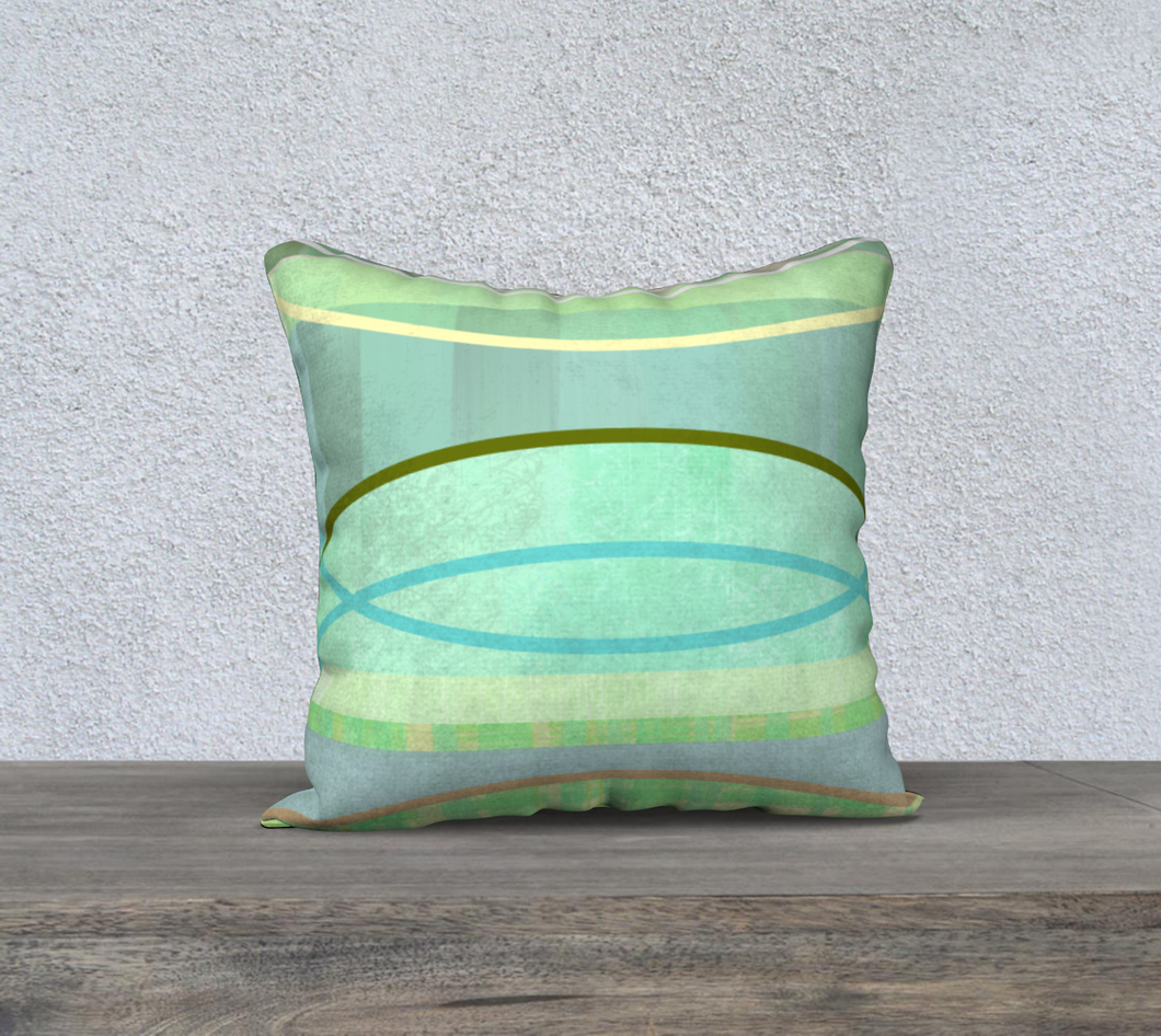 Coaxial Soft Greens Throw Pillow by Deloresart