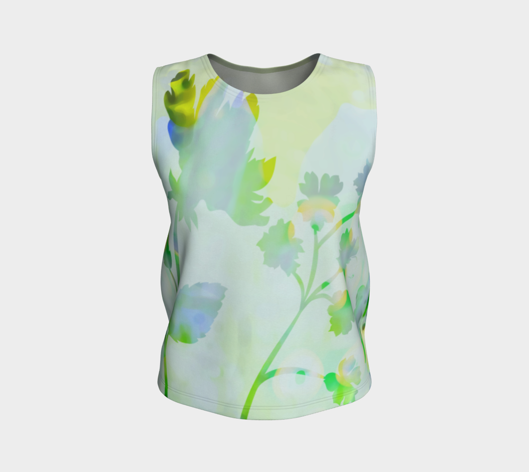 Breezy Blooms  Loose Tank by Deloresart Greens