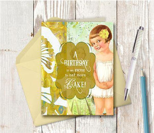0330 Eat More Cake Note Card - deloresartcanada