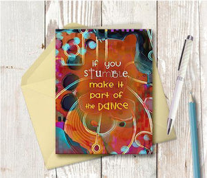 0396 Stumble Note Card - deloresartcanada