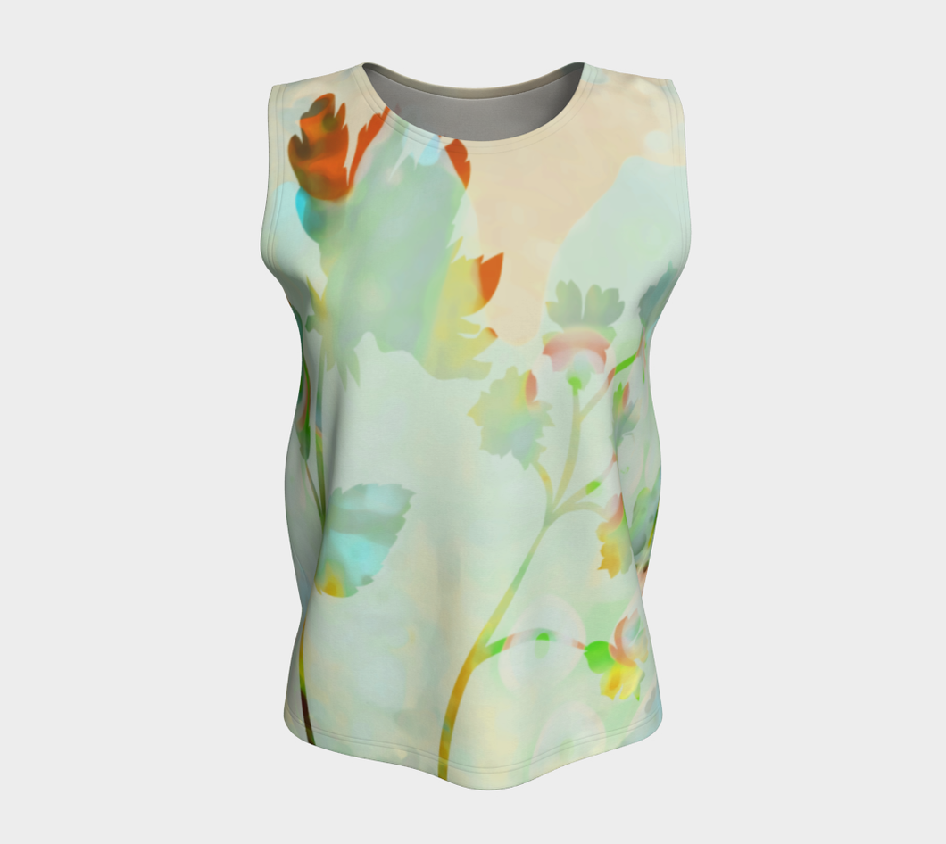 Breezy Blooms  Loose Tank by Deloresart Coral and Soft Greens - deloresartcanada
