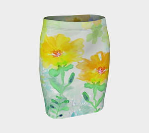 Yellow Floral Fitted Skirt by Deloresart