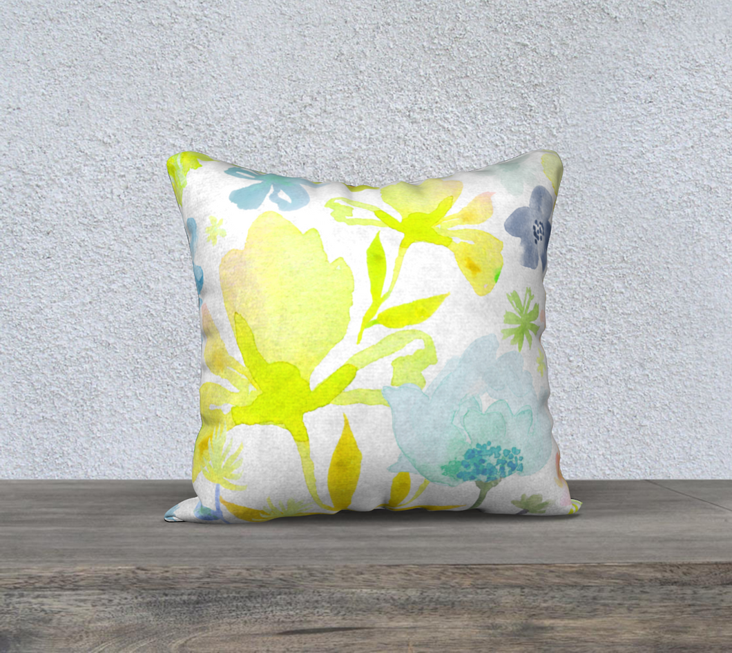 Dreamy Garden Yellows Pillow by Deloresart