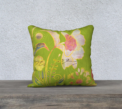 Subtle Soriya Watercolour Floral Pillow by Deloresart