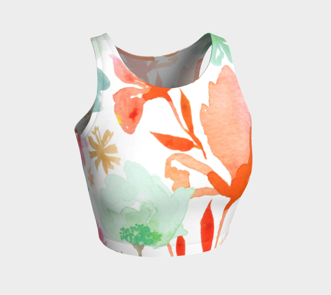 Dreamy Garden Coral Crop Top by Deloresart - deloresartcanada