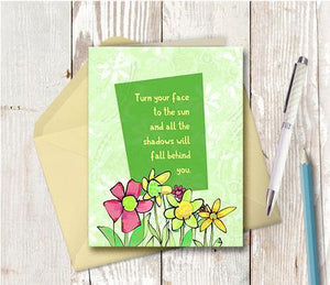0428 Face To The Sun Note Card - deloresartcanada