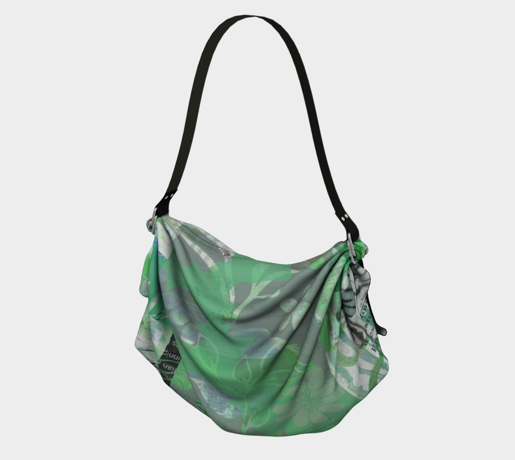 Flourish Soft Greens Origami Tote by Deloresart