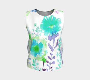 Grandma's Garden Loose Tank Teal and Purple